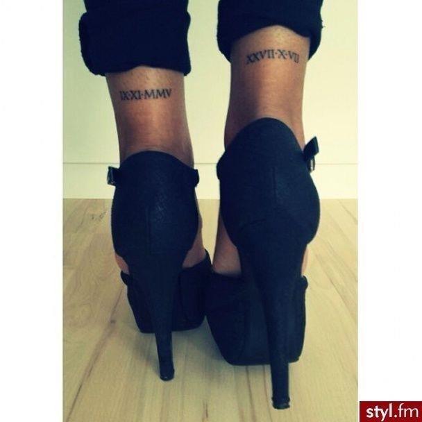 Birthday tattoo on the leg girl
