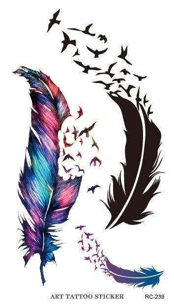 12pcs lot Waterproof temporary tattoos flash tattoo Color Feathers birds flying Freedom Peace Pattern fake tatoo