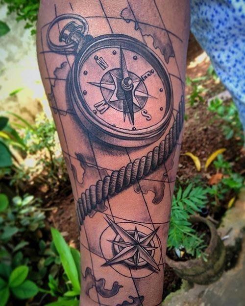 13  Spiral Compass Tattoo Design 1