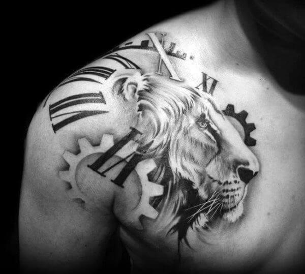 13c091636d4f259988cf1bd96af73404 lion clock tattoo lion chest tattoo
