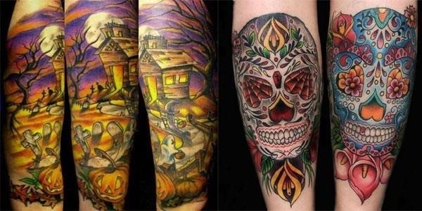 15 Best Unique Scary Halloween Tattoo Designs Images Galleries 2012 For Girls Women F1
