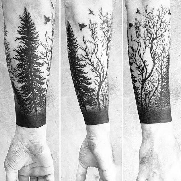 1a9d887083a38eac92008147702897b3  forest forearm tattoo forest tattoo sleeve