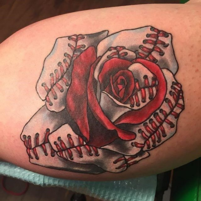 1ec14d9d29e7b818e6ee2eac1b623ef4  softball tattoos baseball rose tattoo
