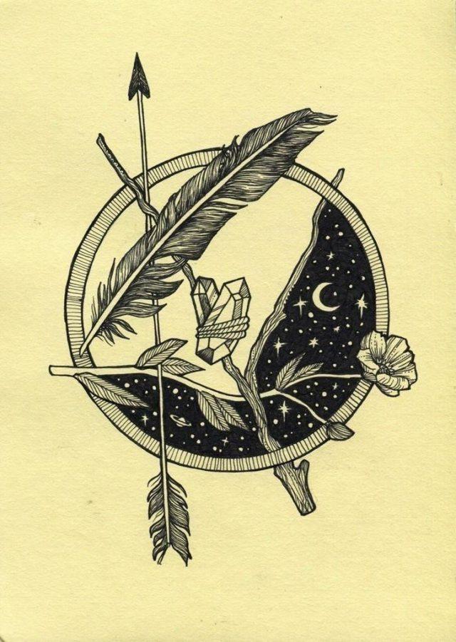2d7d24c7bd39866eec76b759fec93fcf  feather arrow tattoo fern tattoo