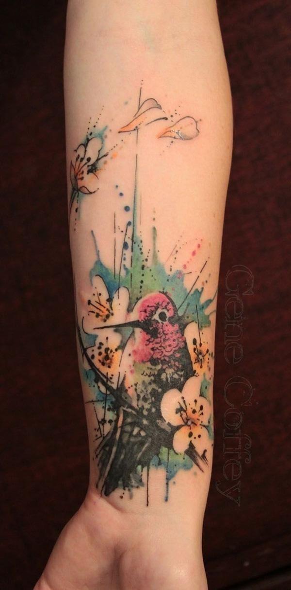 39 Watercolor tattoo on wrist