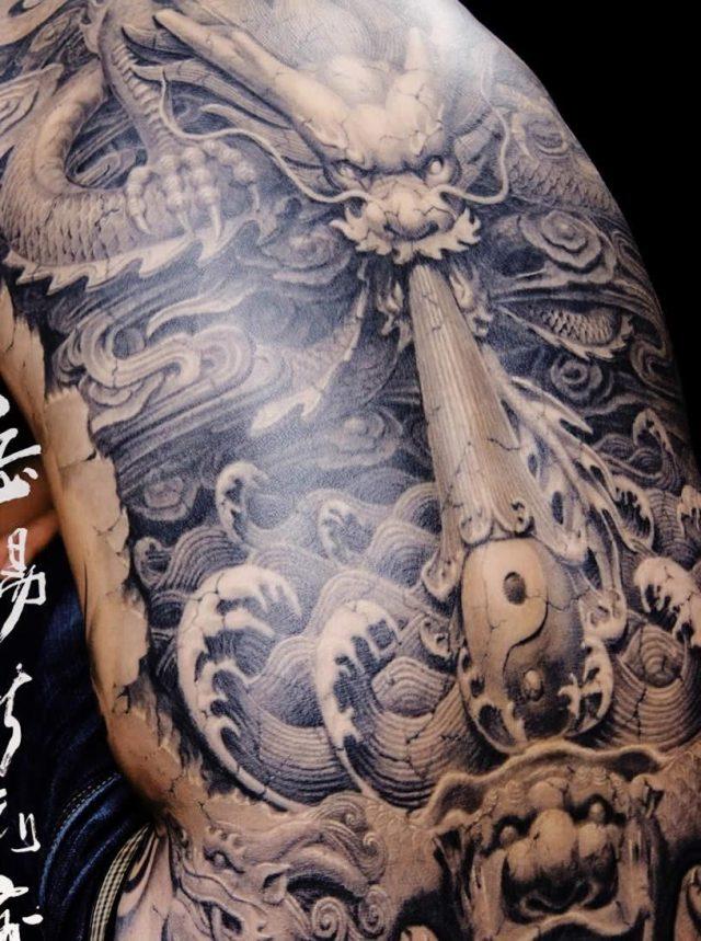 3D Asian Dragon Tattoo On Man Full Back