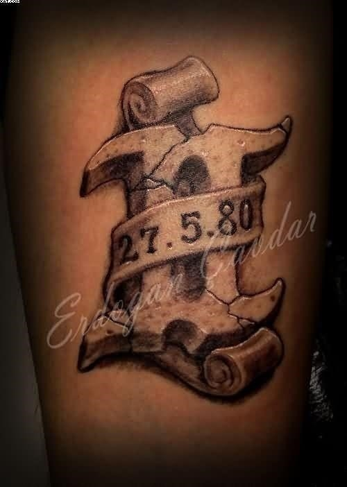 3D Volume Roman Number Memorial Tattoo With Date