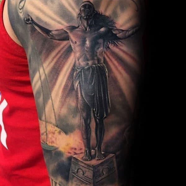 3d male libra balance scale tattoo sleeve