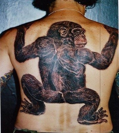 3d monkey tattoo on back body