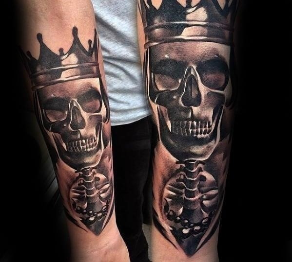 3d shaded skeleton skull awesome mens arm tattoo ideas