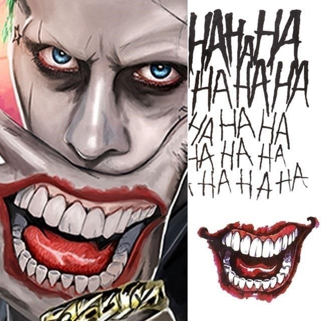 4 Styles Halloween Cosplay The Joker Temporary Tattoo Stickers Body Art Tattoos for Face Arm 20X29