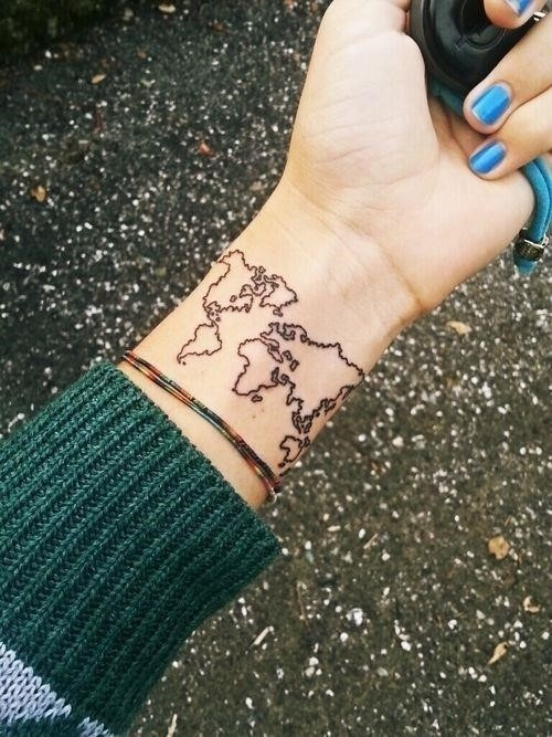 59785 World Map Tattoo
