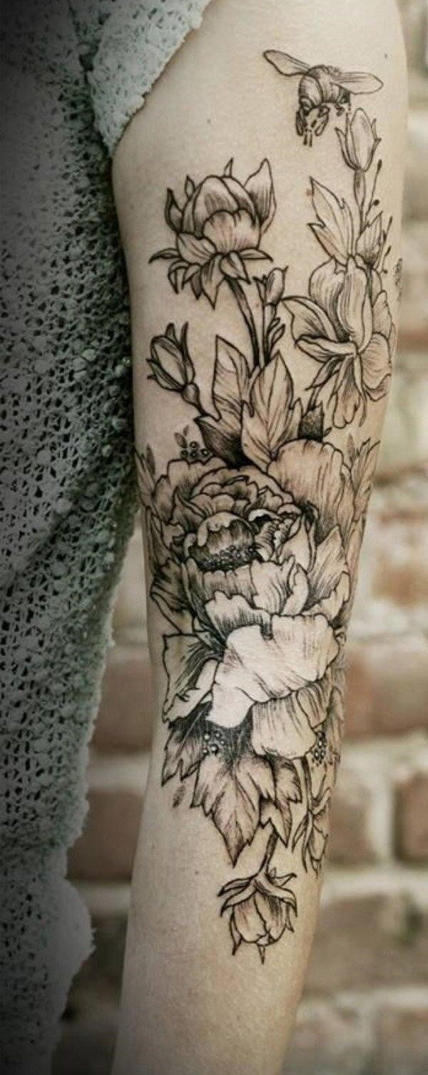 6 Peony tattoo on sleeve 2048×2048