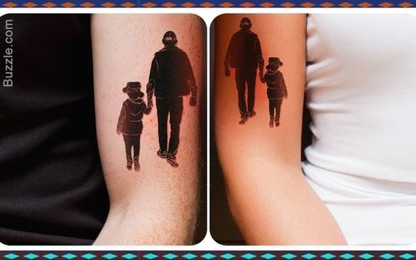 600 father daughter silhouette tattoo