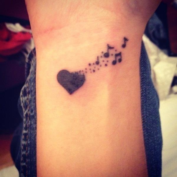 7 heart and music tattoo