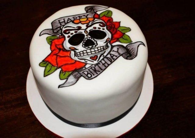 900 831982urRm hand painted sugar skull tattoo cake