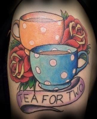 A tea for two tattoo design with vintage polka dot tea cups