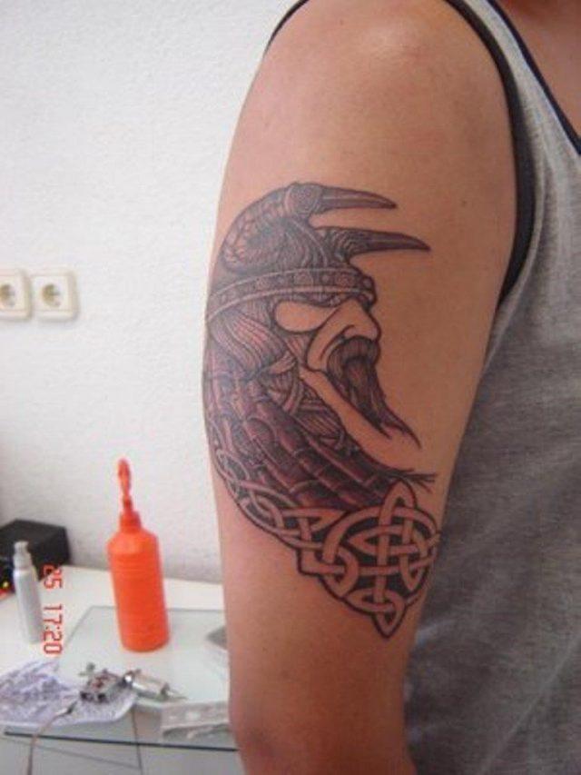 Adorable Viking Shoulder Tattoo Design st6101