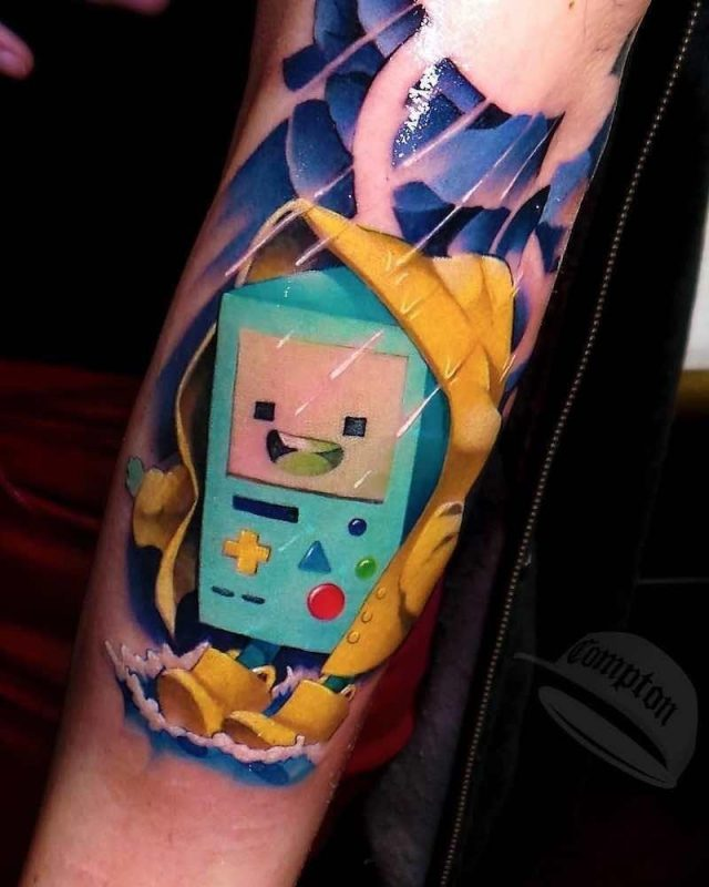 Adventure Time Bmo Tattoo by Steven Compton