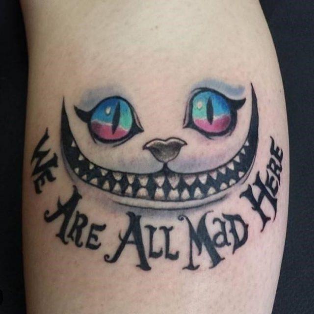 Alice in Wonderland Tattoo On Leg