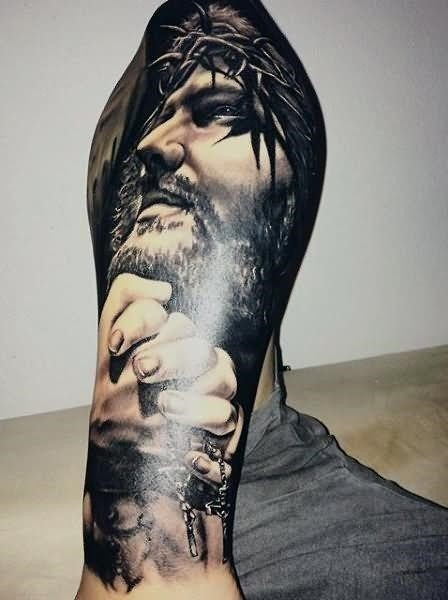 Amazing 3D Christian Jesus Face Tattoo Design For Sleeve