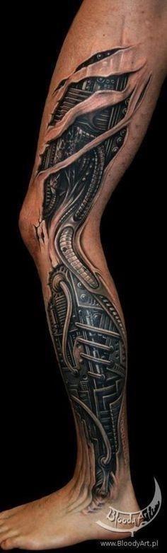Amazing 3D Ripped Skin Mechanical Tattoo On Left Full leg