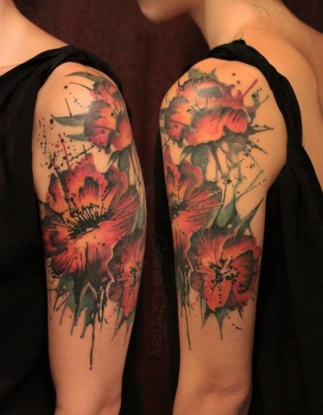 Amazing Abstract Flowers Tattoo On Girl Left Half Sleeve By Gene Coffey