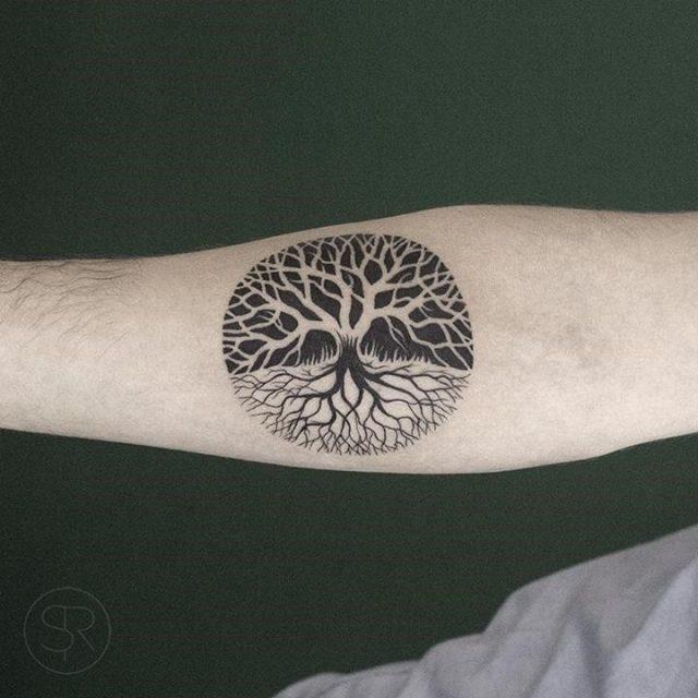 Amazing Black Small Tree Of Life Tattoo On Right Forearm