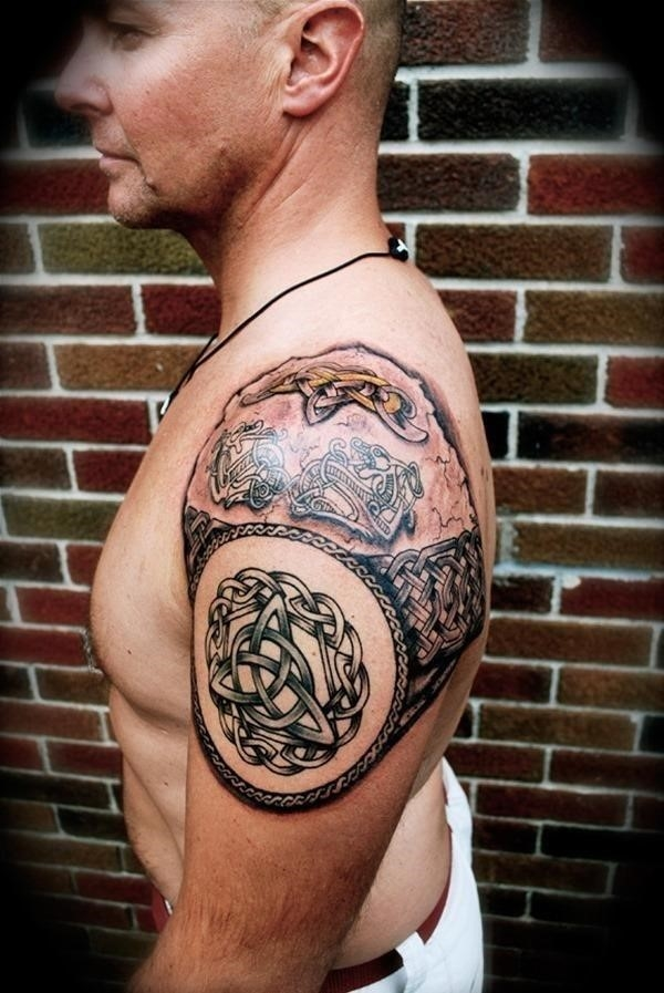 Amazing Celtic Shoulder Tattoo For Men