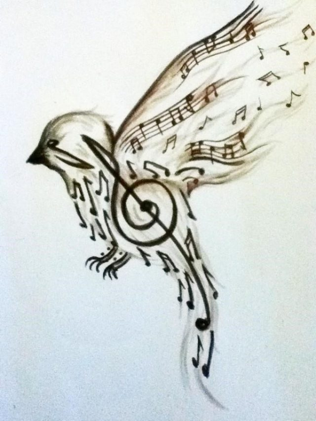 Amazing Flying Music Bird Tattoo Design