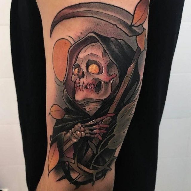 Amazing Grim Reaper Tattoo On Man Left Bicep