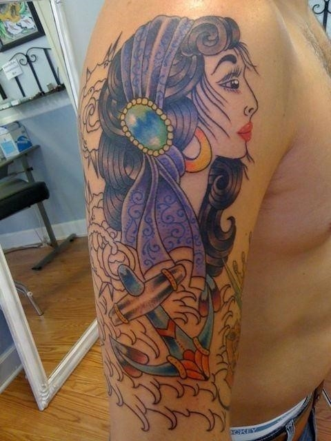 Anchor And Gypsy Girl Tattoo On Right Half Sleeve