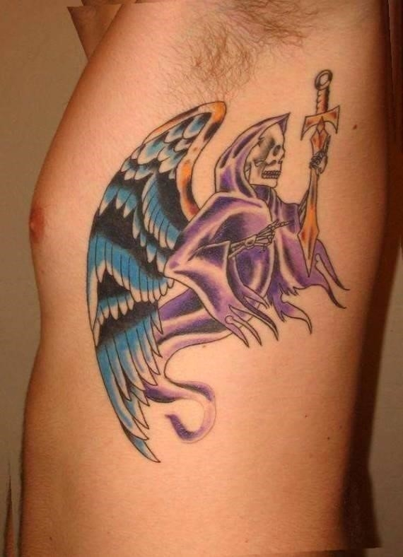 Animated Ghost With Wings Tattoo On Man Side Rib