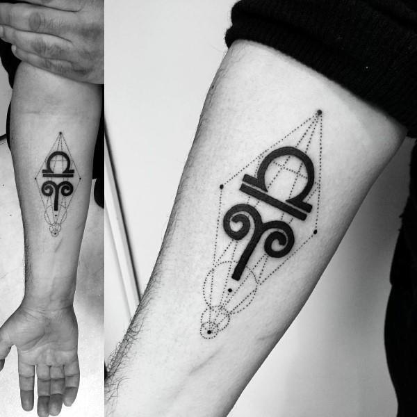 Aries Tattoo Symbol on Hand For Men