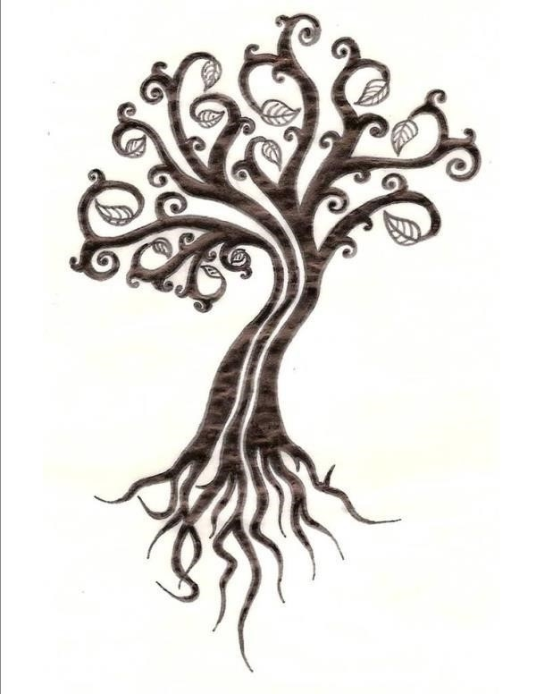 Attractive Brown Tree Of Life Tattoo Design By Amba09