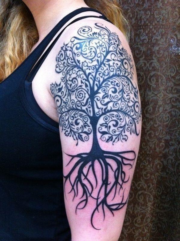 Attractive Cool Tree Of Life Tattoo On Girl Left Half Sleeve1