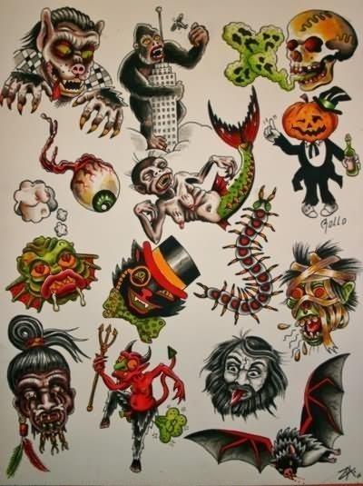 Attractive Traditional Halloween Tattoo Flash