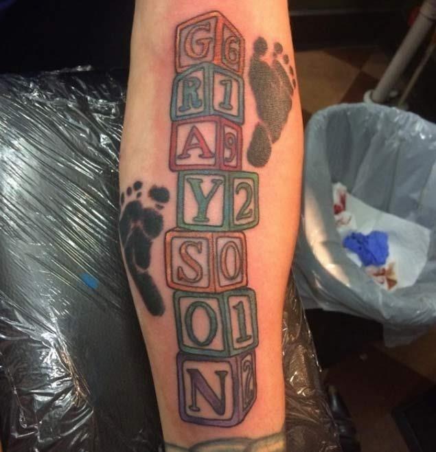Baby Foorprints Tattoos On Forearm