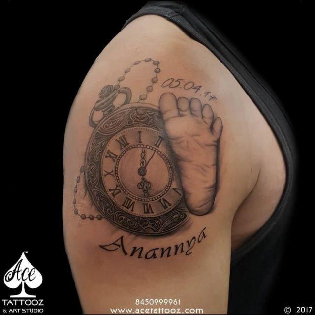 Baby Foot Mark Clock Tattoo
