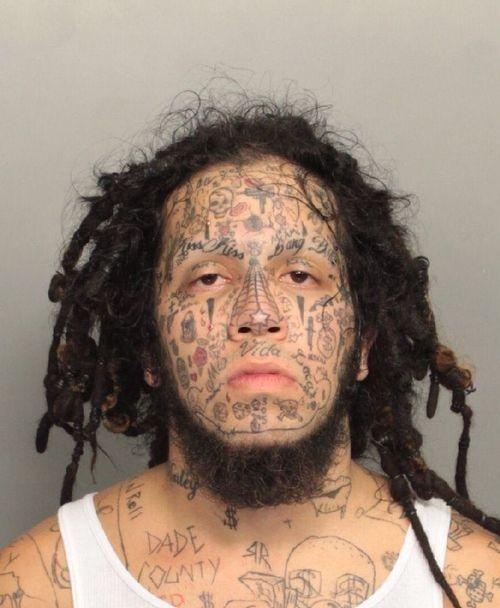 Bad Tattoos mugshot face