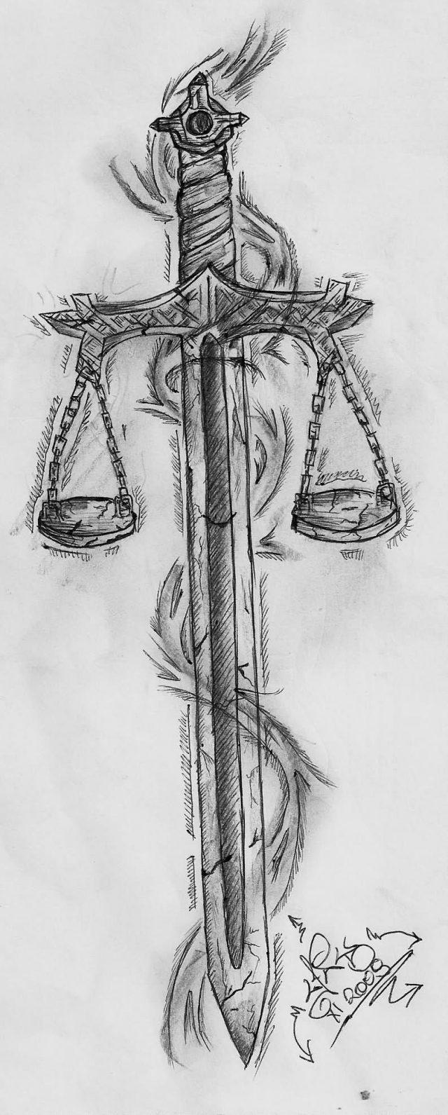 Balance With Sword Tattoo Design