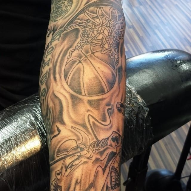 Basketball Out Of Net Tattoo Design