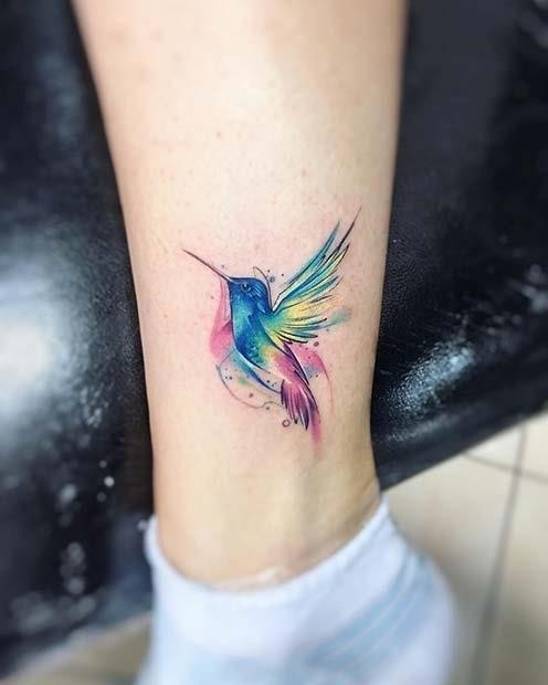 Beautiful Hummingbird Watercolor Tattoo