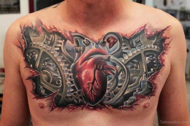 Biomechanical Tattoo Design On Chest Tb1220 1