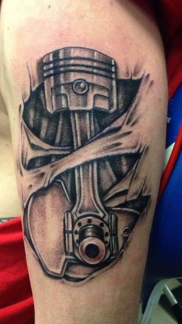 Black And Grey 3D Mechanical Tattoo