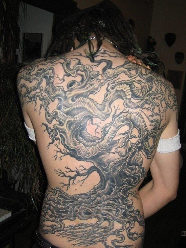 Black And Grey Tree Of Life Tattoo On Full Back
