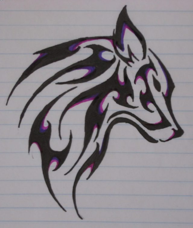 Black And Purple Tribal Wolf Head Tattoo Design