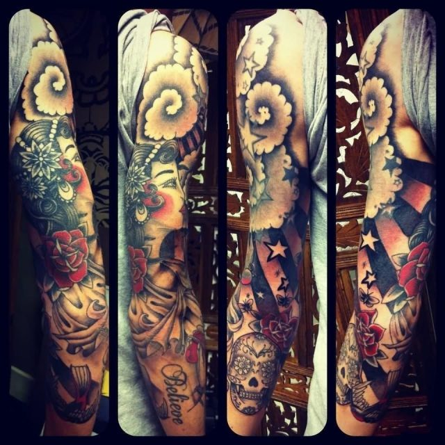 Black And Red Girl Face With Sugar Skull Tattoo On Full Sleeve