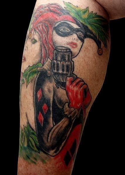 Black And Red Ink Harley Quinn Tattoo On Leg Sleeve