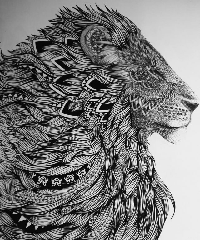 Black And White Lion Head Tattoo Design